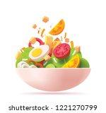 vector green salad icon.... | Shutterstock .eps vector #1221270799