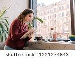 beautiful freelancer. hard... | Shutterstock . vector #1221274843