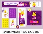 happy new year 2019. earth boar ...   Shutterstock .eps vector #1221277189