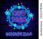 merry christmas and 2019 happy... | Shutterstock .eps vector #1221278356