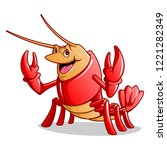 friendly happy lobster on white ... | Shutterstock .eps vector #1221282349