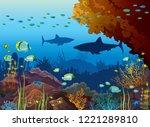 underwater nature and marine... | Shutterstock .eps vector #1221289810