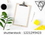 modern office table desk female ...   Shutterstock . vector #1221295423