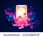 a phone with a newsletter icon... | Shutterstock .eps vector #1221300229