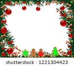 christmas tree frame with toys   Shutterstock .eps vector #1221304423