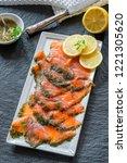 gravadlax   nordic dish of...   Shutterstock . vector #1221305620