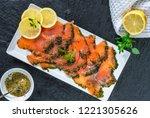 gravadlax   nordic dish of...   Shutterstock . vector #1221305626