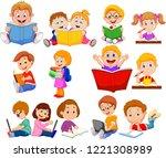 cartoon school children reading ... | Shutterstock .eps vector #1221308989