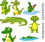 cartoon green crocodile... | Shutterstock .eps vector #1221310723
