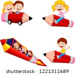cartoon children riding pencil... | Shutterstock .eps vector #1221311689