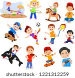 cartoon kids with different... | Shutterstock .eps vector #1221312259
