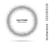 halftone circle frame dots logo ... | Shutterstock . vector #1221323110