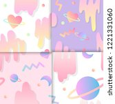 set of love in space background ... | Shutterstock .eps vector #1221331060