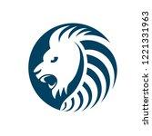 lion head king creative logo... | Shutterstock .eps vector #1221331963