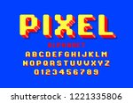 pixel font  3d retro video game ... | Shutterstock .eps vector #1221335806