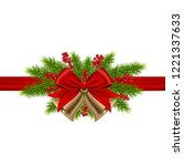 gold christmas bells with bow... | Shutterstock .eps vector #1221337633