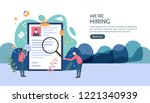 Stock vector job hiring and online recruitment concept with tiny people character agency interview select a 1221340939