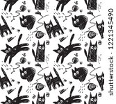 hand drawn pattern with cats.... | Shutterstock .eps vector #1221345490