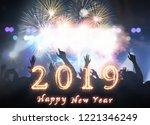 happy new year 2019 written... | Shutterstock . vector #1221346249