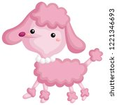 a pink poodle walking around... | Shutterstock .eps vector #1221346693