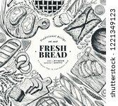 bakery top view frame. hand...   Shutterstock .eps vector #1221349123