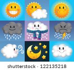 nine weather symbols which are...