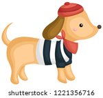 a dog wearing a shirt  hat  and ... | Shutterstock .eps vector #1221356716