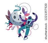 astronaut wearing special... | Shutterstock .eps vector #1221357520