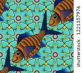 fishes in blue  black and brown ... | Shutterstock .eps vector #1221357976