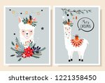 christmas cards collection with ... | Shutterstock .eps vector #1221358450