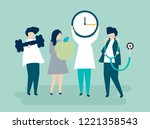 characters of people holding... | Shutterstock .eps vector #1221358543