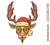 christmas face of deer with... | Shutterstock .eps vector #1221361720