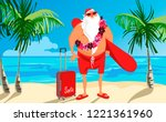 santa on the beach with a...   Shutterstock .eps vector #1221361960