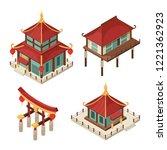 asian buildings isometric.... | Shutterstock .eps vector #1221362923