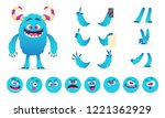 monster constructor. eyes mouth ... | Shutterstock .eps vector #1221362929