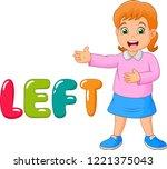 cartoon little girl pointing to ... | Shutterstock .eps vector #1221375043