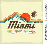 graphics miami for print. surf... | Shutterstock .eps vector #1221380200