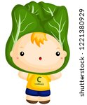 a boy wearing a cabbage costume ... | Shutterstock .eps vector #1221380929