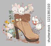cute mouses in boot   Shutterstock .eps vector #1221381310