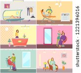 spa salon tanning procedure... | Shutterstock .eps vector #1221396016