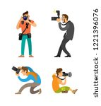 photographing people set ... | Shutterstock .eps vector #1221396076
