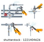 leaking water pipes and... | Shutterstock .eps vector #1221404626