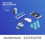 cryptocurrency and blockchain... | Shutterstock .eps vector #1221416743
