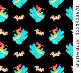 surf pattern. handwritten... | Shutterstock .eps vector #1221423670