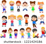cartoon happy children... | Shutterstock . vector #1221424186