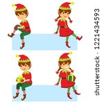 cute cartoon christmas elves... | Shutterstock .eps vector #1221434593