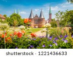 classic postcard view of the... | Shutterstock . vector #1221436633