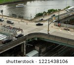 an aerial of an intersection in ... | Shutterstock . vector #1221438106