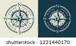 vintage monochrome marine label ... | Shutterstock .eps vector #1221440170