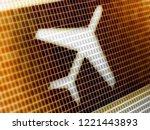 flight icon in the screen. 3d... | Shutterstock . vector #1221443893
